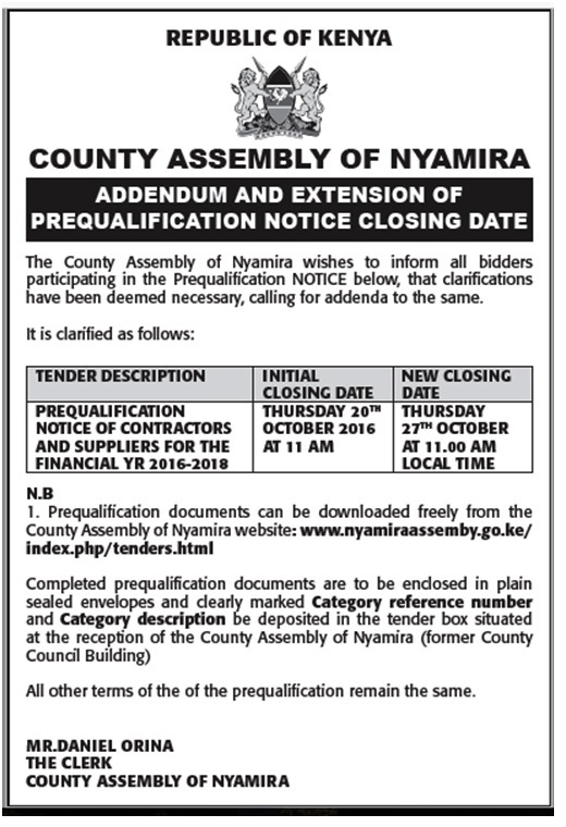 Addendum and extension of prequalification notice closing date